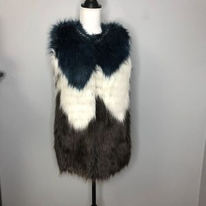 Guess Furry Vest Gray Teal White NWT Sz S